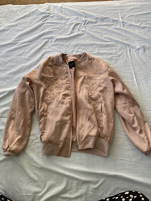 Ladies New Look Pink Silk Bomber Jacket Size 8 • 5£