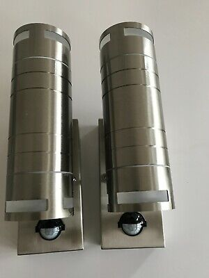 2 X Stainless Steel Indoor & Outdoor Up & Down Led Wall Lamps / Lights IP44 PIR  • 19.99£