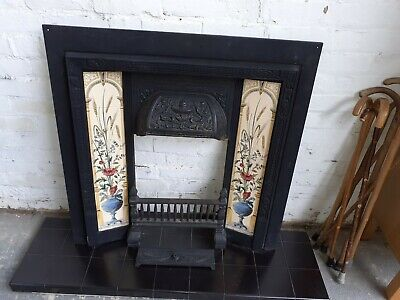 Victorian Style Reproduction Cast Iron Fire Surround With Ornate Tiles • 75£