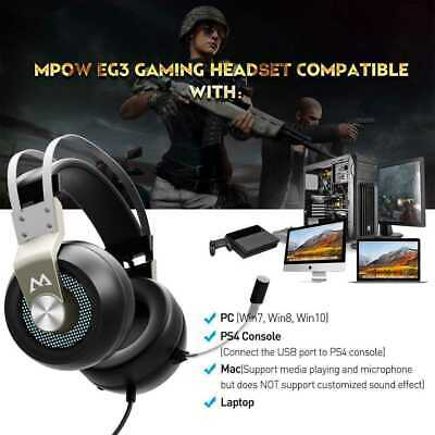 MPOW LED Headphone Gaming Surround Sound Virtual Stereo For Laptop Earphones PS4 • 28.49£