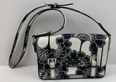 $ CDN26.81 • Buy KATE SPADE Knightsbridge Scout Black & White Florals Leather Crossbody Bag