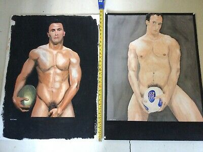 2 Original Male Nude Rugby Players Paintings  • 25£