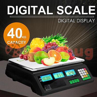 AU42.95 • Buy Commercial Digital Kitchen Scales LCD Shop 40KG Food Weight Electronic Scale
