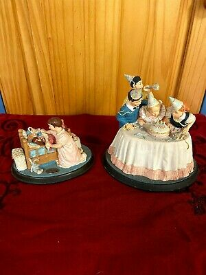 """$ CDN12.75 • Buy Norman Rockwell Ceramic Figurines """"Birthday Party"""" And  Hush-a-Bye"""""""