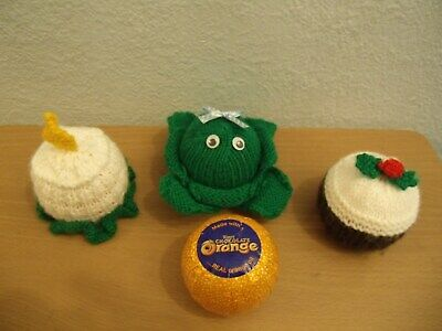 Knitting Pattern 3 Chocolate Orange Covers Christmas Candle Sprout  Xmas Pudding • 2.99£
