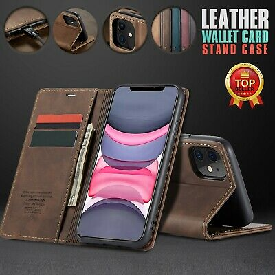 AU11.97 • Buy Leather Wallet Case For IPhone 13 12 11 Pro Max Mini Flip Card Shockproof Cover