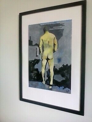 Male Nude Orig-Oil - Title: Bashing One's Bishop (FRAME NOT INCLUDED) Signed  • 0.99£