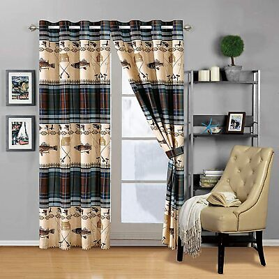 River Fly Fishing Themed Rustic Cabin Lodge Window Treatment Curtain Set • 36.66£