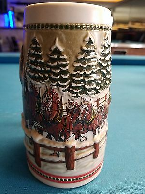 $ CDN31.46 • Buy 1984  Anheuser Busch  AB  Budweiser Bud Holiday Christmas Beer Stein Clydesdales