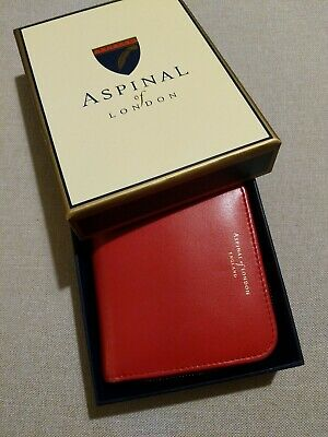 Aspinal Of London Small Purse Wallet Coin, Cards And Notes Red Leather • 9£