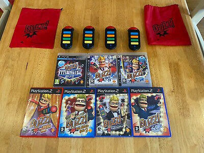 Buzz Controller Bundle,Wireless Buzzers & Games PS2 / PS3 PlayStation 3 • 15£