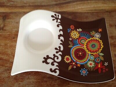 Villeroy & Boch Tea And Biscuits Fine China Wave Plate 60s Pattern Lovely Gift • 3.50£