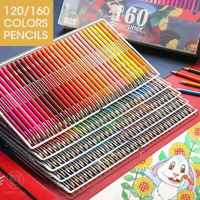 48/72/120/150/160 Colors Oil Watercolor Wood Colored Pencils Drawing Pencil Set • 65.85£