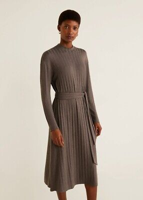 AU25 • Buy BRAND NEW MNG Mango Ribbed Knit Midi Dress Brown High Neck Tie Waist Size S