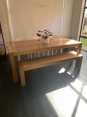 AU600 • Buy Sturdy, Modern 8- Seater Rectangular Dining Table. Natural Wood. Includes Bench