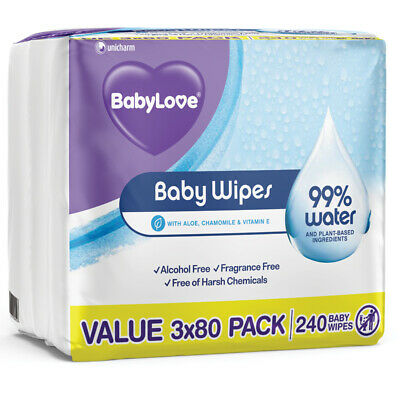AU15.49 • Buy Babylove Water Wipes 240 Pack Online Only
