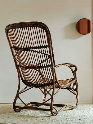 AU135 • Buy Vintage Rattan Armchair Antique Cane Lounge Chair Mid Century Recliner Art Deco