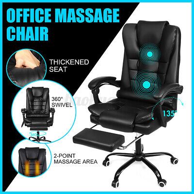 AU129.59 • Buy Executive Massage Office Chair Computer Gaming High Back Chair Recliner Footrest