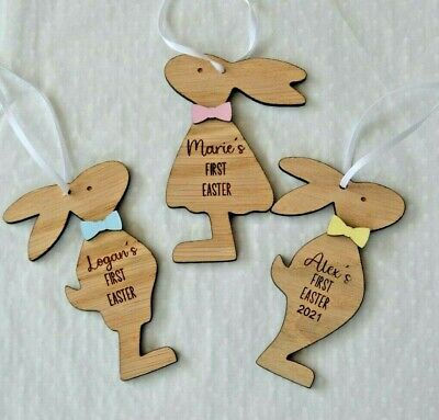 Personalised Baby Boy Girl Easter Bunny Rabbit Wooden Decoration- First Easter • 3£