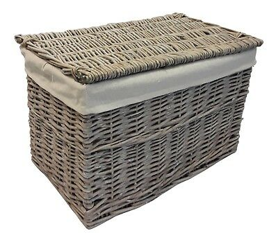 Grey Wash Wicker Trunk Chest Storage Basket Bedroom Bathroom Lining Lid Willow • 22.95£