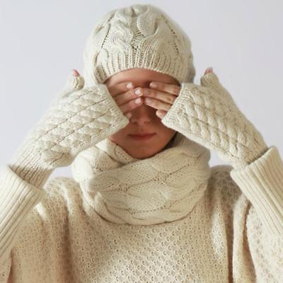 £25 • Buy Baby Alpaca Cable Knit Fingerless Gloves NEW -ski Wear / Winter Chic