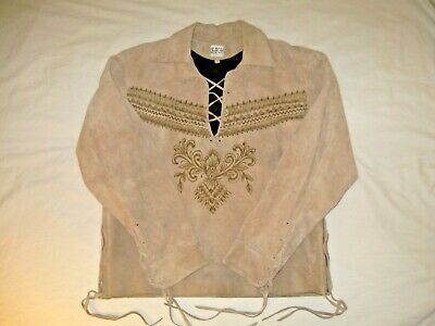 $79.95 • Buy Western Cowboy Suede Leather Pull Over Jacket With Fringe Size 44