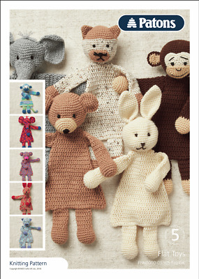 Patons Crochet Pattern 5 Flat Toys - Teddy, Rabbit, Elephant, Cat & Monkey • 0.99£