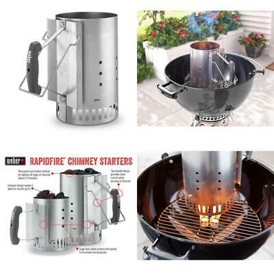 $ CDN33.39 • Buy Charcoal Starter Rapidfire Chimney Lighter Grill Fire Can Bin Grate Steel Weber
