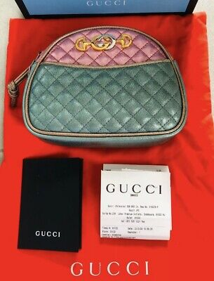 AU650 • Buy Preowned Gucci Trapuntata Colorblock Metallic Leather Quilted Mini Bag Crossbody
