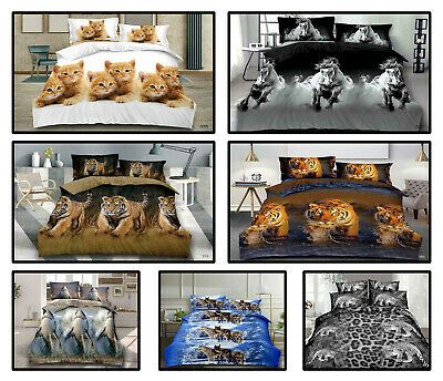 £21.49 • Buy Prime 3D Animal Print Duvet Complete Bedding Set Fitted Sheet With Pillow Cases