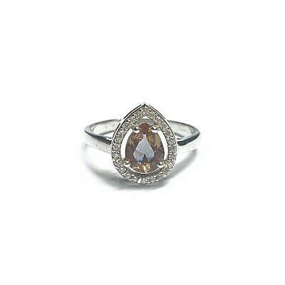 Sterling Silver 925 Teardrop Champagne Topaz Cubic Zirconia Halo Boxed Ring Gift • 16.88£