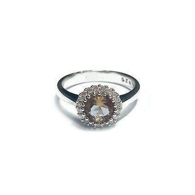 Sterling Silver 925 Topaz Cubic Zirconia Halo Ring Band Boxed Jewellery Gift • 17.50£