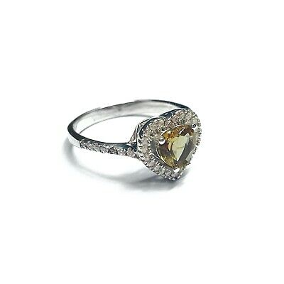 Sterling Silver 925 Topaz Cubic Zirconia Heart Halo Ring Boxed Jewellery Gift • 17.50£