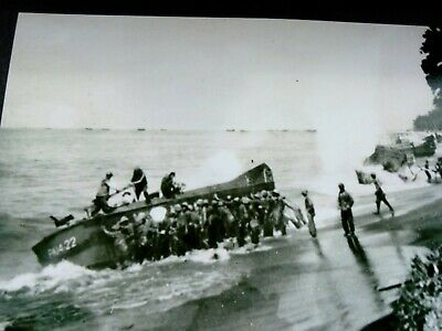 WW2 Photograph From Original Negative Soldier's Boarding Numbered Landing Craft  • 1.25£