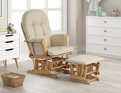 £179.99 • Buy Nursing Glider Maternity Chair With Footrest Baby Rocking Nursery Seat Wood New