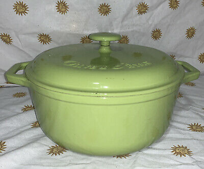 $ CDN101.48 • Buy Vintage Olive & Thyme 5qt Cast Iron Lime Green Enameled Dutch Oven Pot With Lid