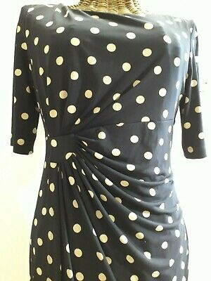 Navy/cream Spot Short Sleeve Dress Size 12 • 10£