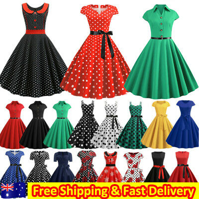 AU30.09 • Buy Womens Ladies Vintage Retro 50s 60s Rockabilly Evening Party Pinup Swing Dress