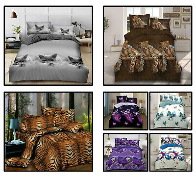 New Modern 3D Animal Print Duvet Cover Set Fitted Sheet Pillowcase In All Sizes • 24.89£