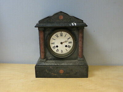 Vintage SLATE AND MARBLE MANTEL CLOCK USED In Need Of Restoration • 49.99£