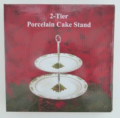 2 Tier Christmas Tree Porcelain Cake Stand Boxed • 19.95£