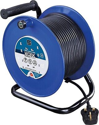 £69.95 • Buy Masterplug Four Socket Medium Open Cable Reel Extension Lead With Handle, 50 M