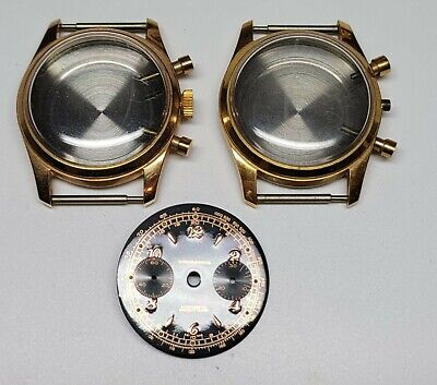 $ CDN150 • Buy Lot Of 2 Vintage Chronograph Case Yellow Chrome Plated, Diam 34.6mm + 1 Dial