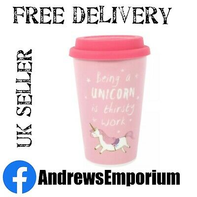 Ceramic Thermal Travel Mug Pink Unicorn With Lid Being A Unicorn Is Thirsty Work • 7.89£