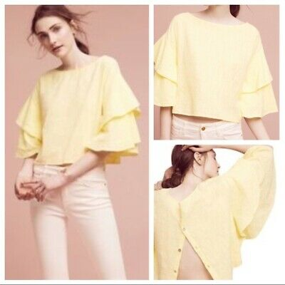 $ CDN38.20 • Buy Anthropologie Lilka Size Large Yellow Lora Cropped Ruffle Sleeve Blouse Top