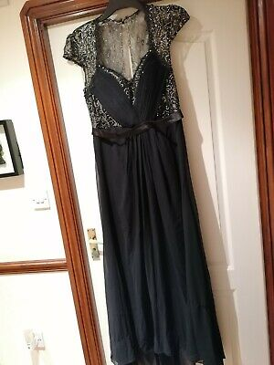 NEW Ladies Size16 Black Ever Pretty Chiffon & Lace Long Evening/party/prom Dress • 10£