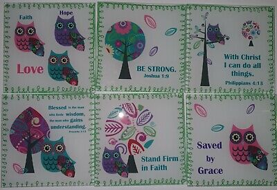 £10.86 • Buy Owl Assorted Glass Christian Coasters Pack Of 6