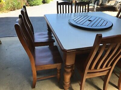 AU120 • Buy Dining Table  8 Seater Timber  Chairs Included Used
