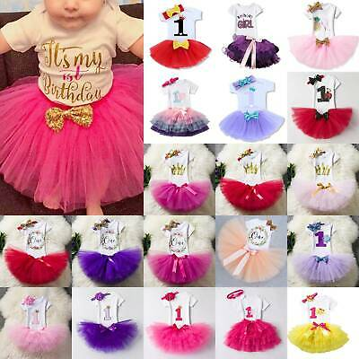 AU24.69 • Buy Birthday Party Baby Girl First 1st Dress Romper Tutu Skirt Headband Cake Outfit