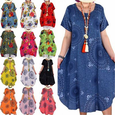 AU17 • Buy Plus Size Women Floral Tunic Kaftan Dress Holiday Summer Casual Beach Sundress